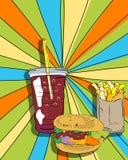 Cheeseburger, småfiskar och sodavatten för Popkonst Royaltyfri Foto