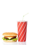 Cheeseburger and soda drink royalty free stock photo