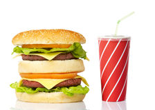 Cheeseburger and soda drink Royalty Free Stock Images