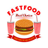 Cheeseburger and soda drink for fast food menu Stock Images