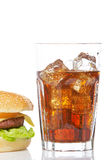 Cheeseburger and soda glass Royalty Free Stock Photo