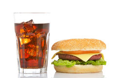Cheeseburger and soda glass stock photos