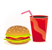 Cheeseburger and soft drink Stock Image