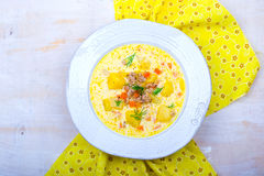 Cheeseburger soup ,mincemeat and cheese soup. Selective focus Stock Image