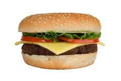 Cheeseburger with Tomato & Lettuce Royalty Free Stock Photo