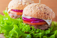 Cheeseburger with tomato, onion and green salad Royalty Free Stock Images