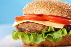 Cheeseburger with tomatoes and lettuce Stock Image