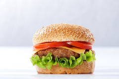 Cheeseburger with tomatoes and lettuce Royalty Free Stock Photo