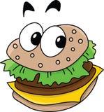 Cheeseburger tout préparé délicieux de bande dessinée regardant le vecteur de caméra illustration stock