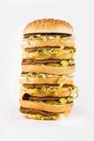 cheeseburger triple énorme Photographie stock