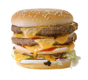Cheeseburger triple Photographie stock