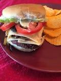 Cheeseburger und Chips sind ein Schnellimbiß Stockbilder