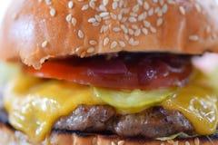 Cheeseburger. Upclose. Fast food menu stock photography