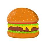 Cheeseburger vlakke vectordieillustratie op witte achtergrond wordt geïsoleerd Cheeseburgeringrediënt, originele hamburger Stock Afbeeldingen