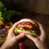 Cheeseburger w rękach Zdjęcia Royalty Free