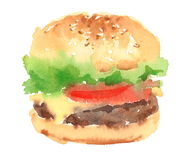 Cheeseburger Watercolor Food Illustration Hand Painted isolated on white background. Watercolor illustration of Cheeseburger isolated on white background royalty free illustration