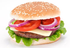 Cheeseburger on a white background Stock Photos