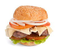 Cheeseburger  on white Royalty Free Stock Photos