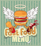 Cheeseburger with wings. Banner for the fast-food cheeseburger with the wings stock illustration