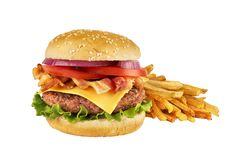 Free Cheeseburger With Beef Patty, Bacon And French Fries, Isolated On White. Stock Image - 135829841