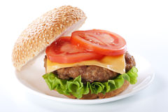 Free Cheeseburger With Tomatoes And Lettuce Stock Photos - 18704693
