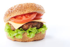 Free Cheeseburger With Tomatoes And Lettuce Stock Photos - 18996113