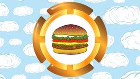 Cheeseburger y nubes del icono almacen de metraje de vídeo