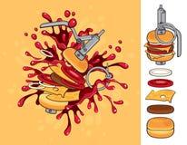 Cheeseburgeraromagranate Stockfotos