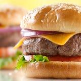 cheeseburgercloseup royaltyfria bilder