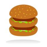 cheeseburgerdouble royaltyfri illustrationer