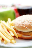 cheeseburgerfransmansmåfiskar arkivbilder