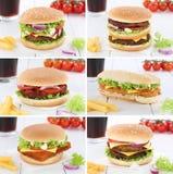 Cheeseburgermenü-Mahlzeit der Hamburgersammlung kombiniertes Getränk der gesetzten Lizenzfreie Stockfotografie