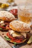 2 cheeseburgers на плюшках сезама Стоковое фото RF