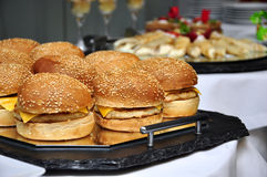 Cheeseburgers. On a tray, salow dof Royalty Free Stock Photos