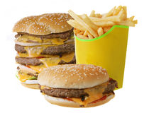 Cheeseburgers and French fries Royalty Free Stock Photos