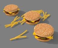 Cheeseburgers and fry potato Stock Photo
