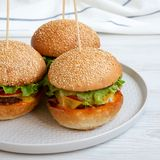 Cheeseburgers on grey plate on white wooden surface, low angle view. Closeup stock photos