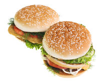 Cheeseburgers isolated on white background Stock Photo