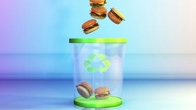 Cheeseburgers que caem em um escaninho de lixo, conceito de dieta, alfa, metragem conservada em estoque ilustração do vetor