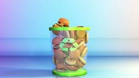 Cheeseburgers que caem em um escaninho de lixo, conceito de dieta, metragem conservada em estoque ilustração do vetor