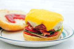 Cheeseburgerschieber Stockbild