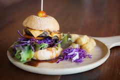 Cheeseburgerservierplatte stockbild