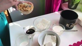 Cheesecake βακκινίων Μια γυναίκα αναμιγνύει crumbs μπισκότων με το βούτυρο απόθεμα βίντεο