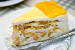 Cheesecake μάγκο Στοκ Εικόνες