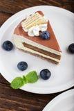 Cheesecake με τα βακκίνια σε ένα πιάτο Στοκ Εικόνα