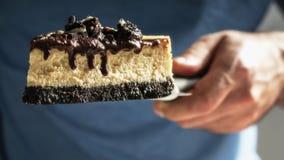 Cheesecake με τα μπισκότα και την κρέμα σοκολάτας που στάζει στην πλευρά στοκ εικόνες