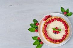 Cheesecake με τα φρέσκα μούρα στο άσπρο πιάτο που διακοσμείται με τα σμέουρα και τα βακκίνια, μέντα στο γκρίζο υπόβαθρο Στοκ εικόνα με δικαίωμα ελεύθερης χρήσης