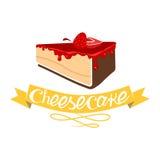 Cheesecake με τη μαρμελάδα φραουλών διάνυσμα Ελεύθερη απεικόνιση δικαιώματος