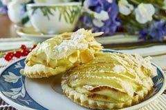 Cheesecake της Apple με το φλυτζάνι της γλυκιάς ζωής επιδορπίων τσαγιού ακόμα Στοκ Εικόνες