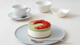 Cheesecake φραουλών Matcha φιλμ μικρού μήκους